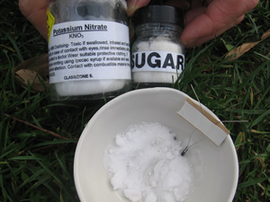 Chemistry-demonstrations-sugar and potassium nitrate
